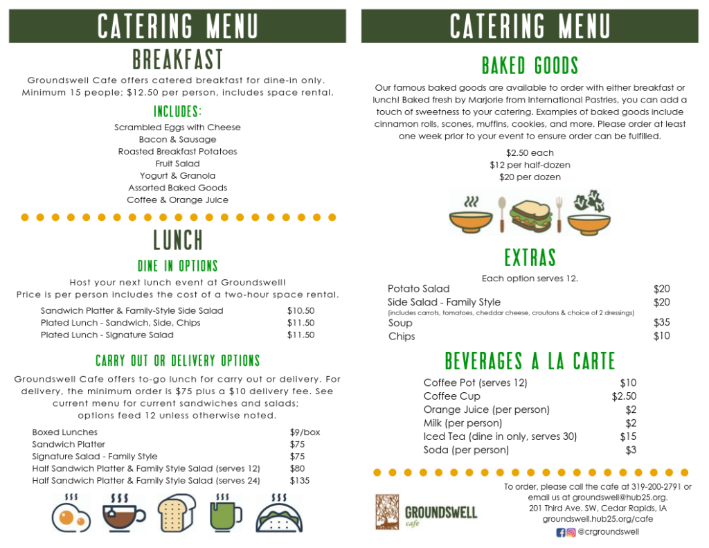 catering menu for groundswell cafe