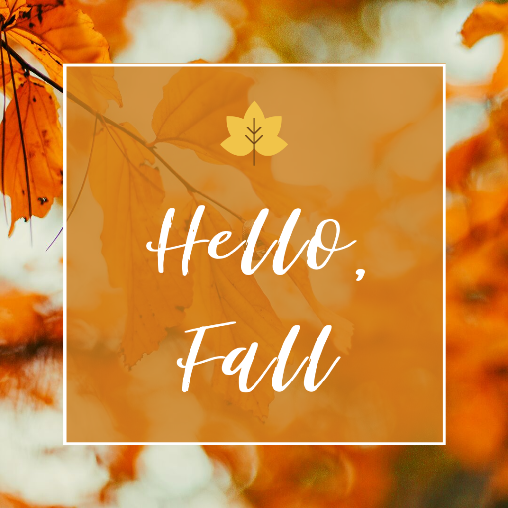 "image with leaves and text that says ""hello fall"" to introduce the fall menu"